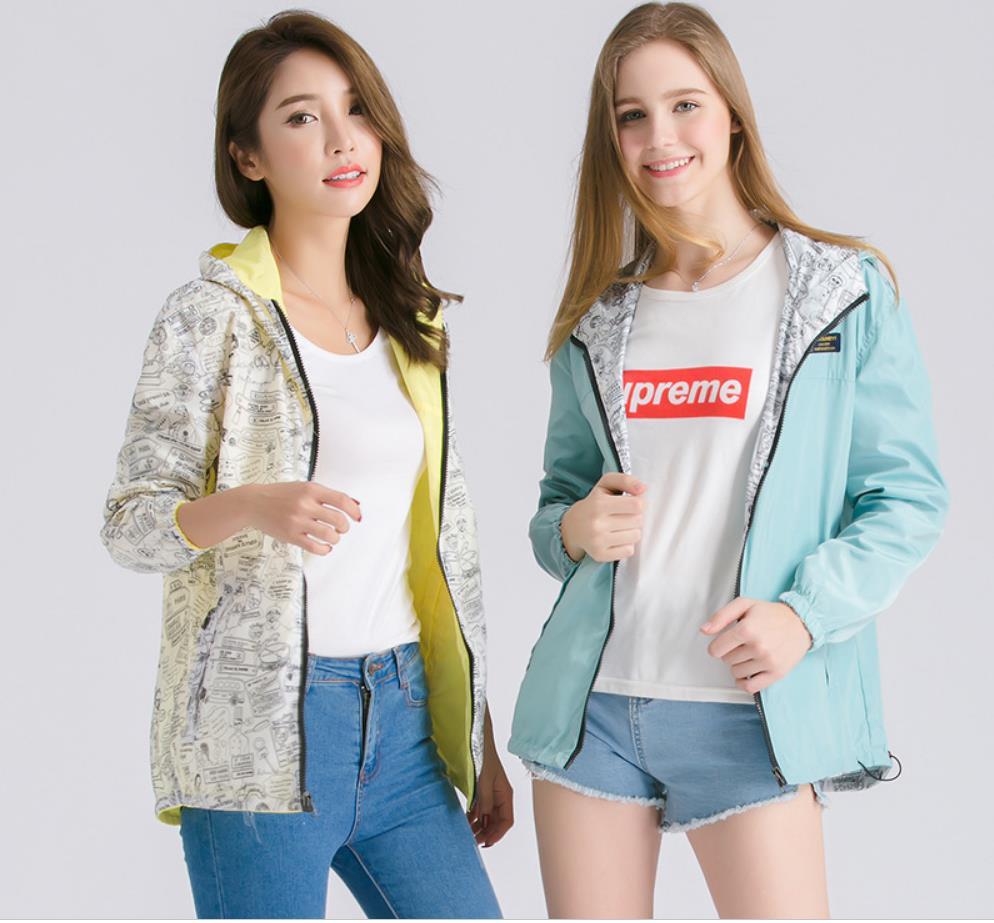 2019 Women Basic Jacket coat Spring Autumn Pocket Zipper Hooded Two Side Wear Cartoon Print Outwear Loose Coat Windbreaker