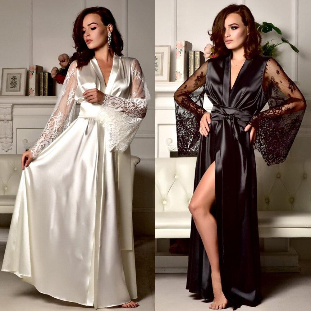 Womens Satin Robe Sexy Lace Nightgown Pajamas Sleepwear Kimono Babydoll Dress XL