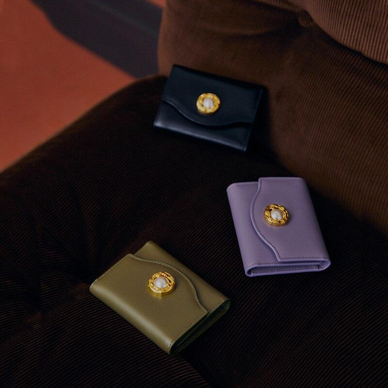 LA FESTIN 2020 new fashion three-folding card holder coin purse retro leather clutch bag short femal