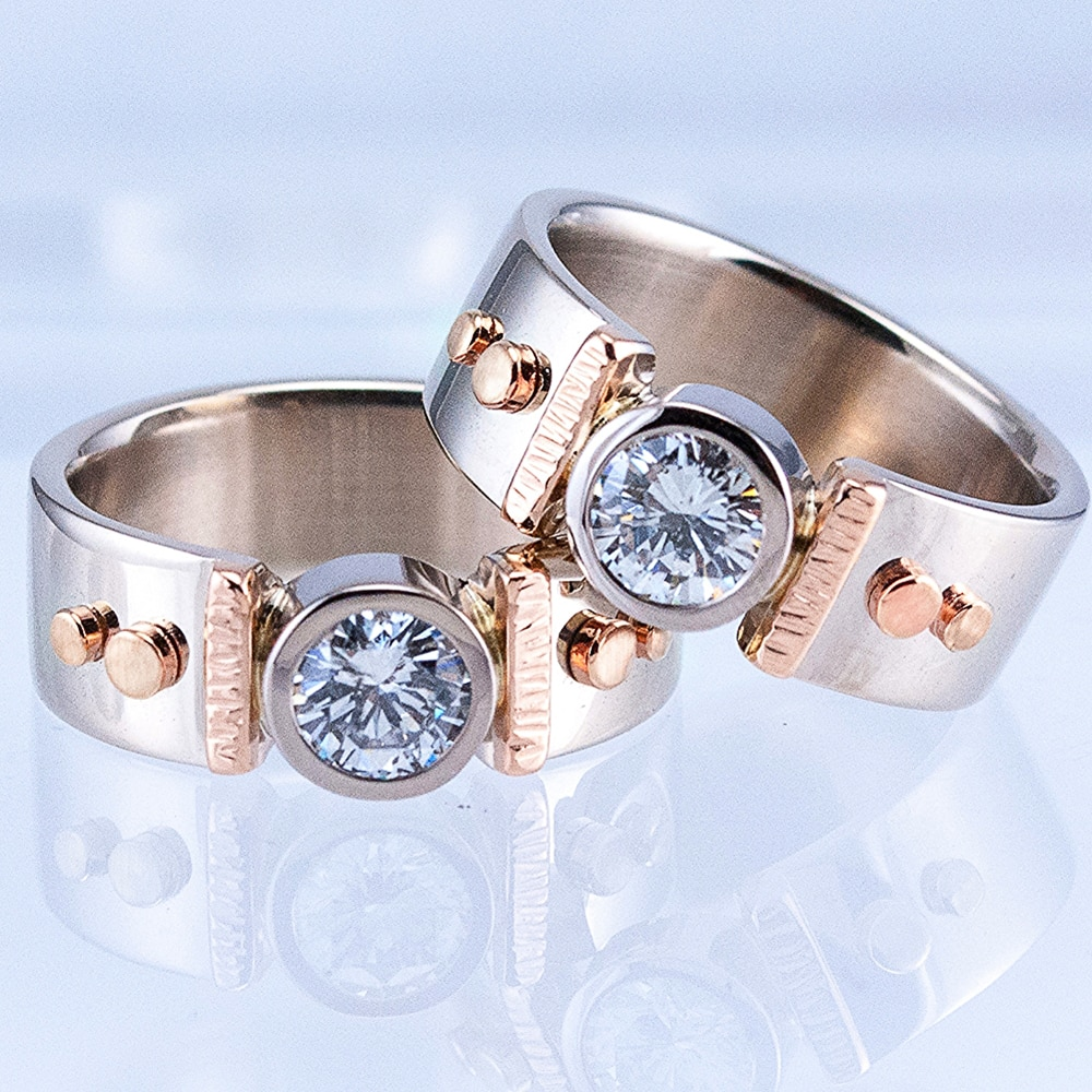 Huitan Silber Farbe/Rose Gold Farbe Mix Neu Frauen Ring Solitaire Band AAA Cubic Zirkon Weibliche Hochzeit Zeremonie Party ring