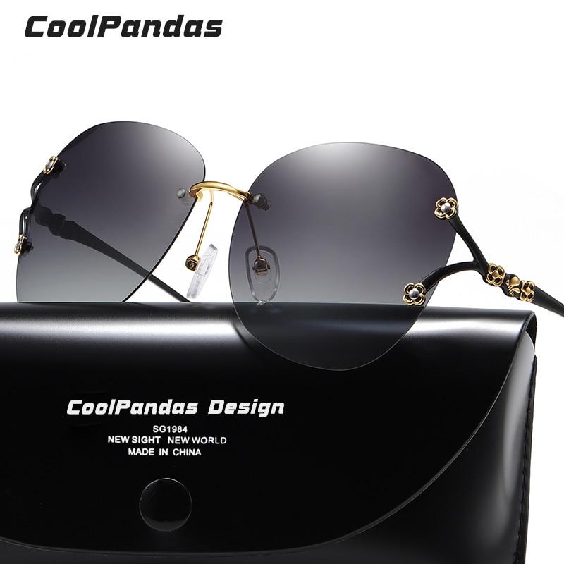CoolPandas, Gafas de Sol modernas de lujo para Mujer, Gafas con degradado colorido sin montura de gran tamaño, Gafas de Sol para Mujer