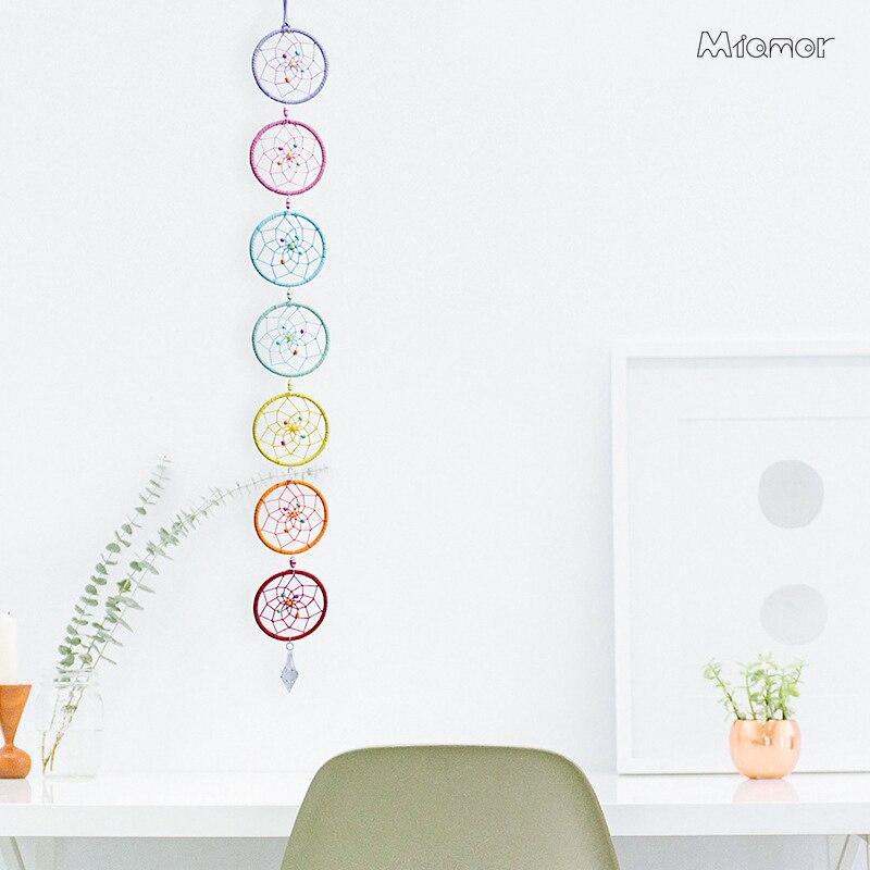 Atrapasueños Muladhar de MIAMOR, atrapasueños de 7 anillos, atrapasueños colorido, decoración colgante de pared para el hogar y colgante de coche, regalo ornamental Amor096