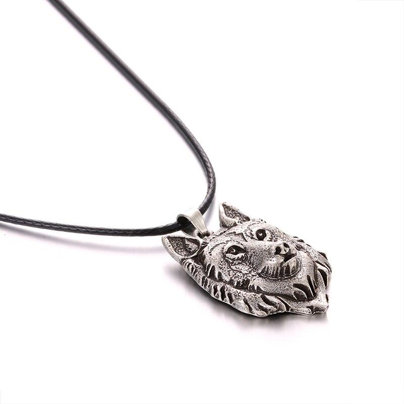 1 piezas Lobo cabeza COLLAR COLGANTE Animal poder nórdico vikingo amuleto collares con colgantes de las mujeres de los hombres regalo de la joyería