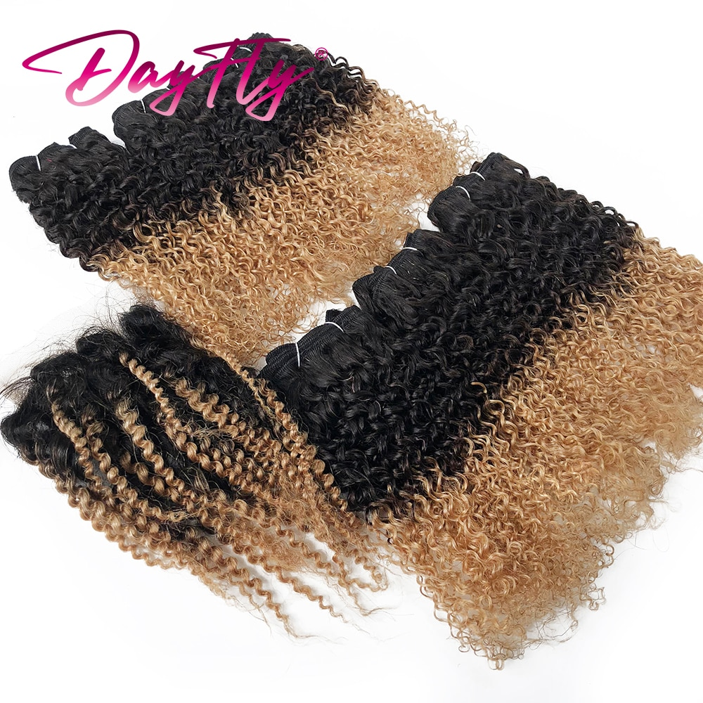 Mongolian Kinky Curly Bundles With Closure Colored Curly Human Hair Bundles T1B 27 30 Ombre Bundles With Closure 6 Bundles Hair