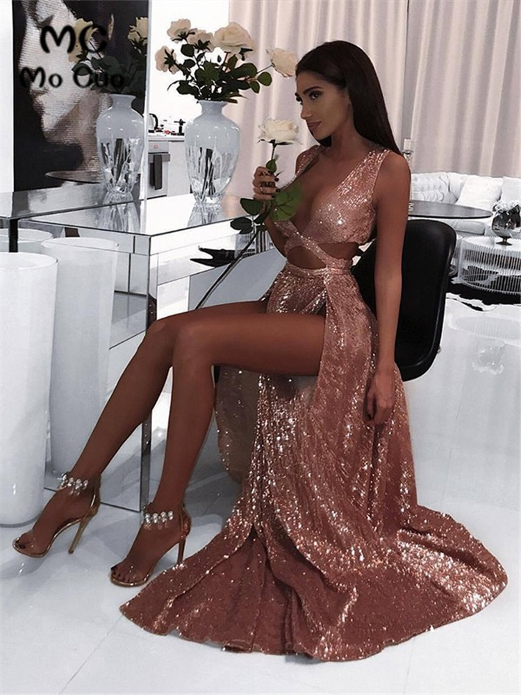 Sexy noir robes de soirée longue robe de bal paillettes avant fente col en V robe de soirée sur mesure