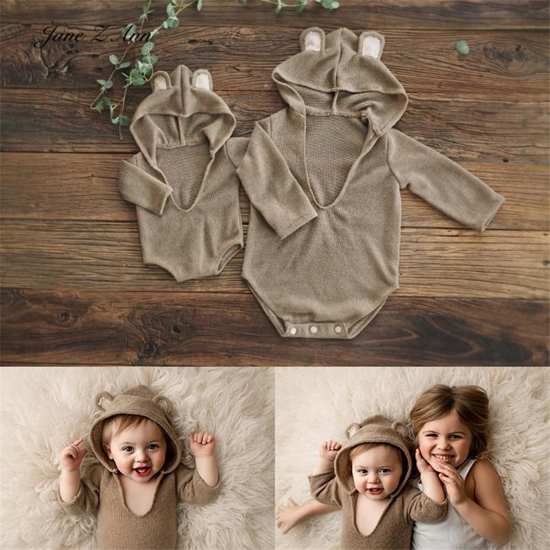 زي جاين آن بيبي بوي لطيف ذو قلنسوة للاطفال حديثي الولادة/1 سنة ملابس التصوير استوديو التصوير الدعائم ملابس الاخوة