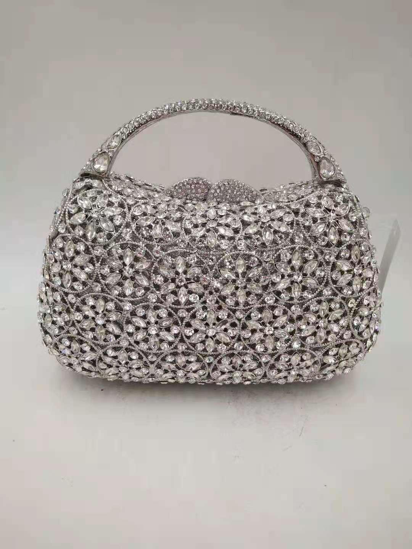 الذهب والفضة الأزرق الشمبانيا الملونة امرأة الماس مساء حقيبة الزفاف سيدة الزفاف مخلب محفظة الإناث الكريستال حفلة موسيقية حقيبة يد