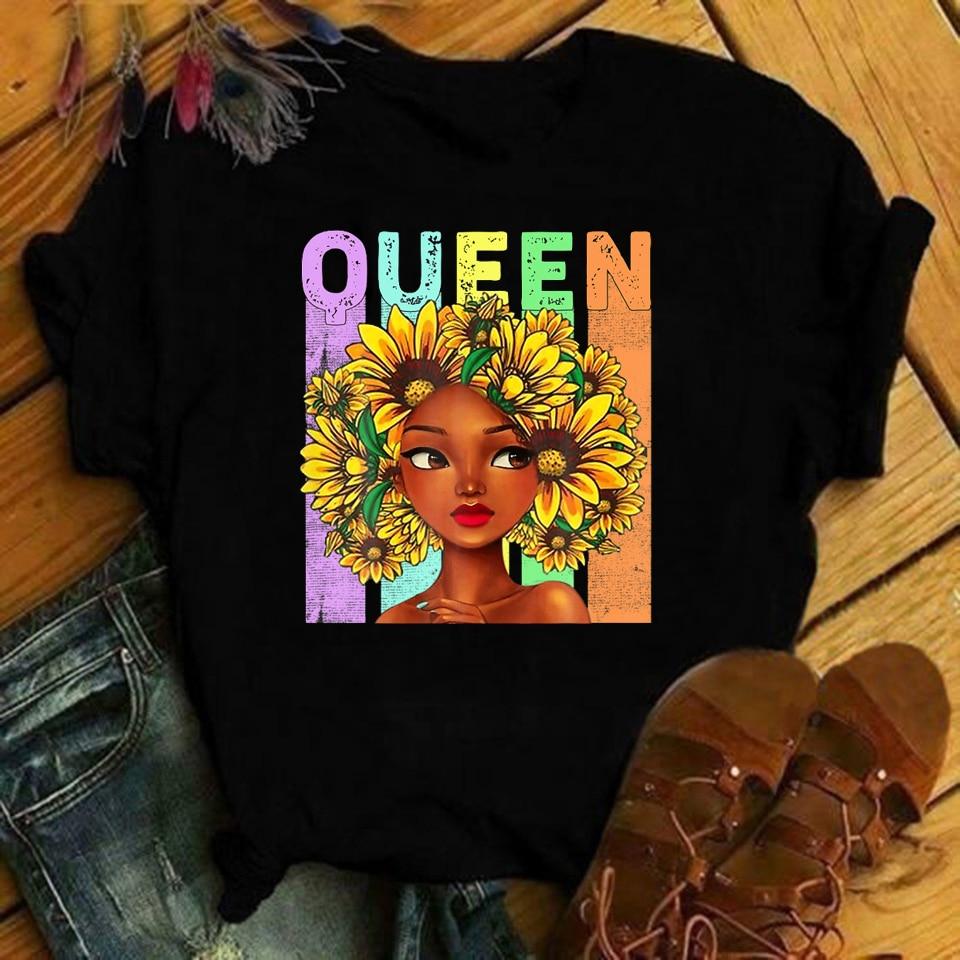 Preto rainha girassol cabelo afro-feminino melanin camiseta topos mulher camisetas kawaii roupas ropa para mulheres de moda 2020