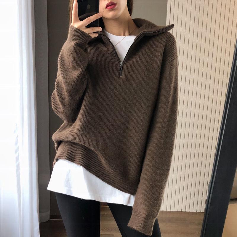 Женская водолазка на молнии, пуловер с длинным рукавом, женский модный утепленный вязаный свитер в Корейском стиле, черный женский джемпер, ...