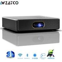 WZATCO     MINI projecteur lAsEr 3D intelligent  Portable  4K  WIFI 5G  S5  DLP  Android  pour Home cinema  Full HD 1080P