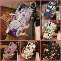 for woman wrist strap phone case for huawei honor 20 lite fashion design flower durable anti knock