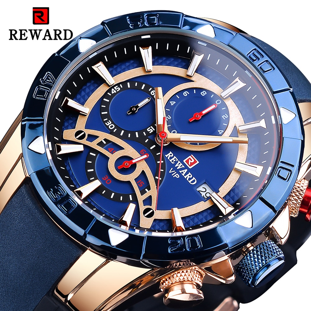 Dark Blue Men's Wrist Watch Top Brand Luxury Fashion Dual Display Waterproof Watches Clock Leather&S