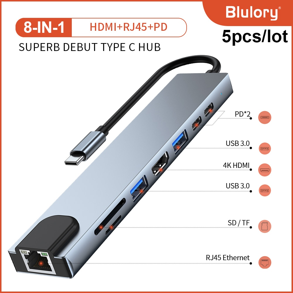 8 in 1 USB 3.0 Hub For Laptop Adapter PC Computer PD Charge 8 Ports Dock Station RJ45 HDMI TF/SD Card Notebook Type-C Splitter