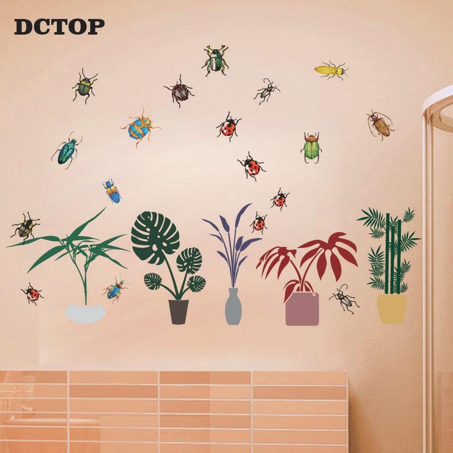 Calcomanías de bambú y insectos para el hogar plantas tropicales calcomanías de mariquita para decoración de habitación de niños arte de pared DIY vinilos de ventana Mural