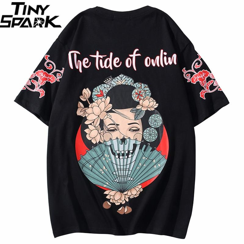 2020 hombres T camiseta Hip Hop Streetwear camiseta Oversize cráneo Geisha japonesa Harajuku camiseta de verano de algodón de manga corta Tops Tees