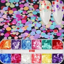 12 siatki/pudełko Mix rozmiary Silk Rainbow okrągłe cekiny/Holo Hexagon paleta brokatu do paznokci Noctilucent Powder Nail Art kromka kalkomanie