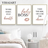 fashion quotes poster wall art canvas print motivational painting minimalist lady boss decorative picture office room decoration