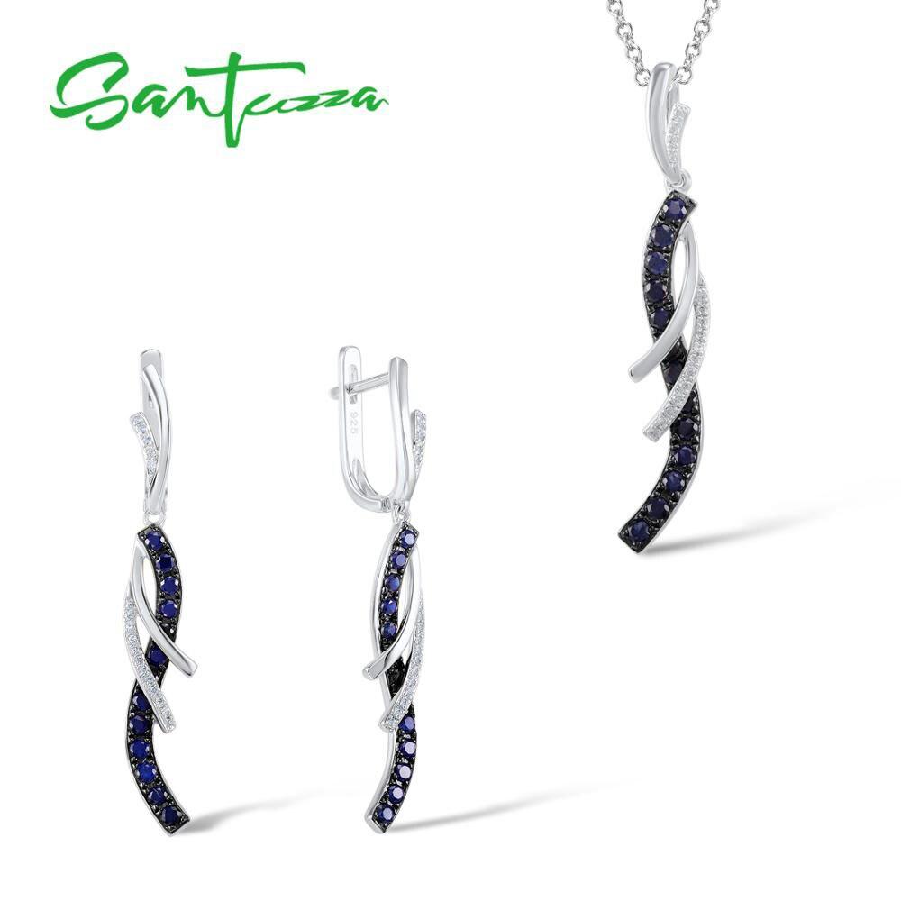 SANTUZZA набор украшений для женщин очаровательный голубой белый CZ Висячие серьги кулон набор чистое серебро 925 пробы модные ювелирные изделия