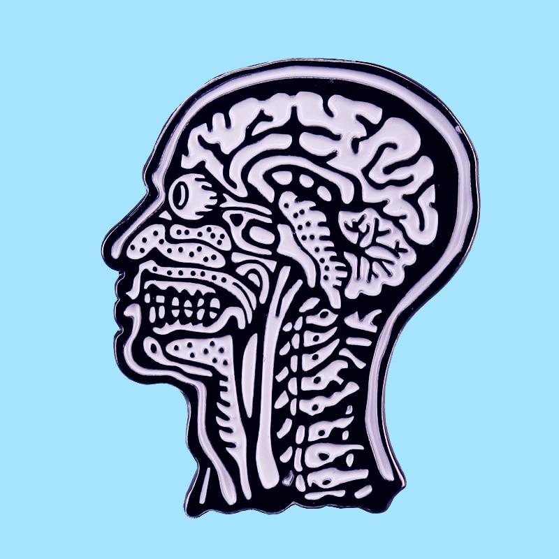 Cabeza humana órganos anatómicos cerebro neurología esmalte duro broche Pins Metal aleación moda joyería Lapel Pins insignias Accesorios