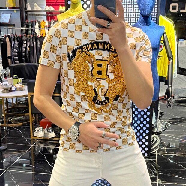 2021 New Printing Fashion Versatile Short Sleeve Mens T-shirt Slim Round Neck Pullover Half Top