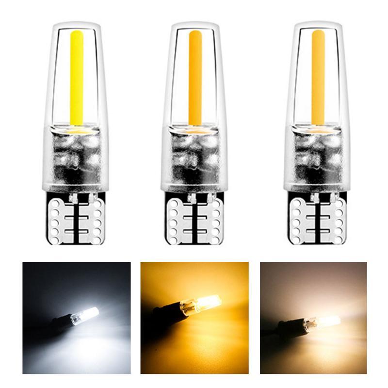 Carro t10 indicação luz cob interior luz indicação da lâmpada cunha luz de folga branco quente amarelo lâmpada para marcador lateral