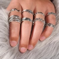 8pcsset rings for women fashion ring knuckles ring hip hop jewelry gift to girlfriend european and american rings 2021 trend