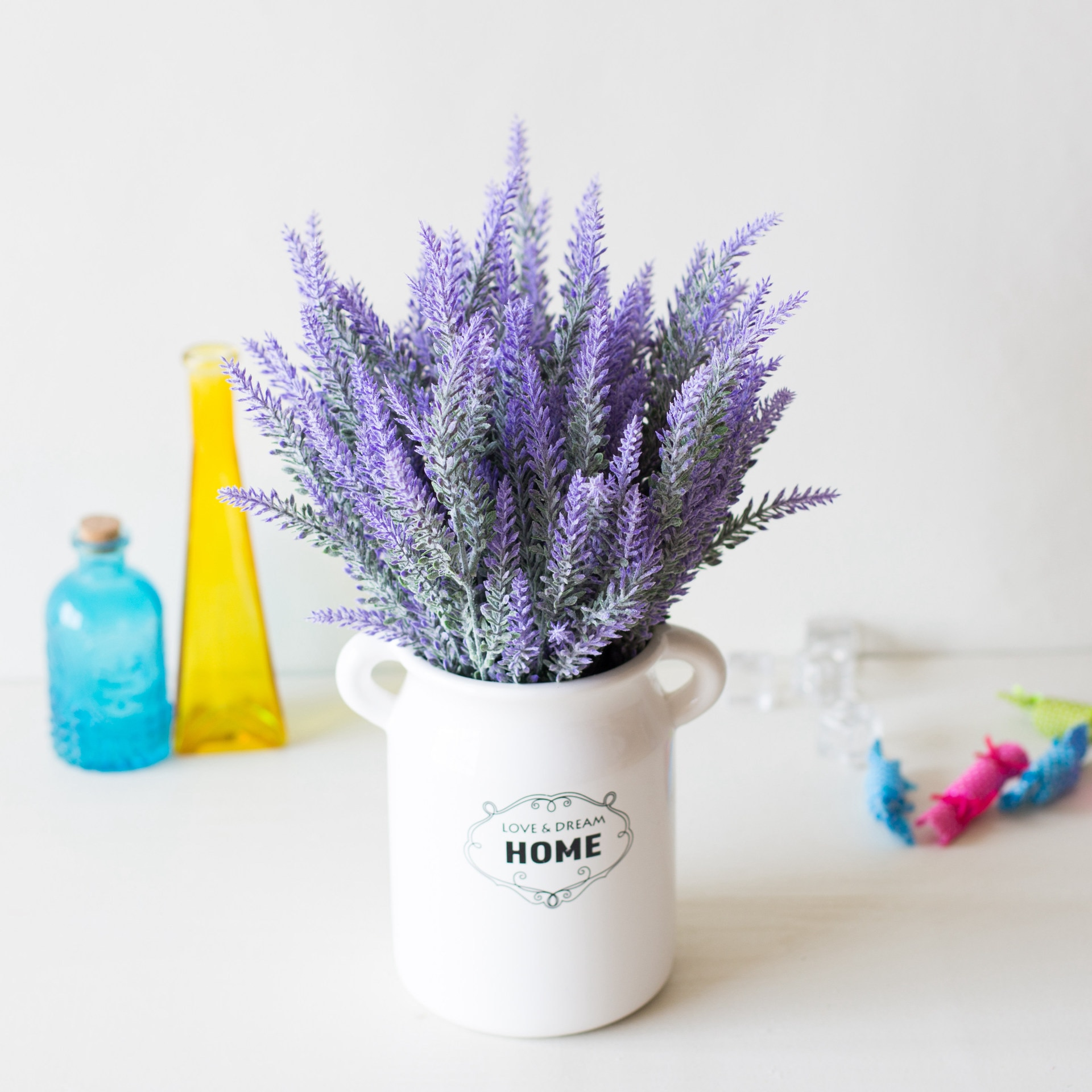 1 Bundle Romantic Provence Lavender Plastic Wedding Decorative Vase for Home Decor Artificial Flowers Grain Christmas Fake Plant