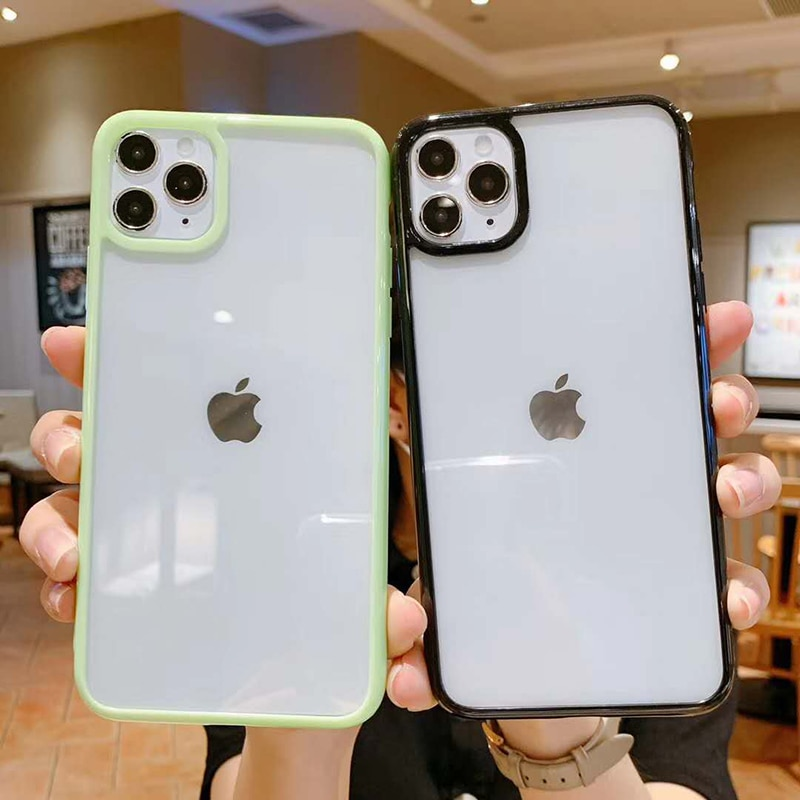 aliexpress.com - Candy Color Bumper Shockproof Trasparent Phone Case For iPhone 12 11 Pro Max XR X XS Max 8 7 6S Plus SE2020 Soft TPU Back Cover