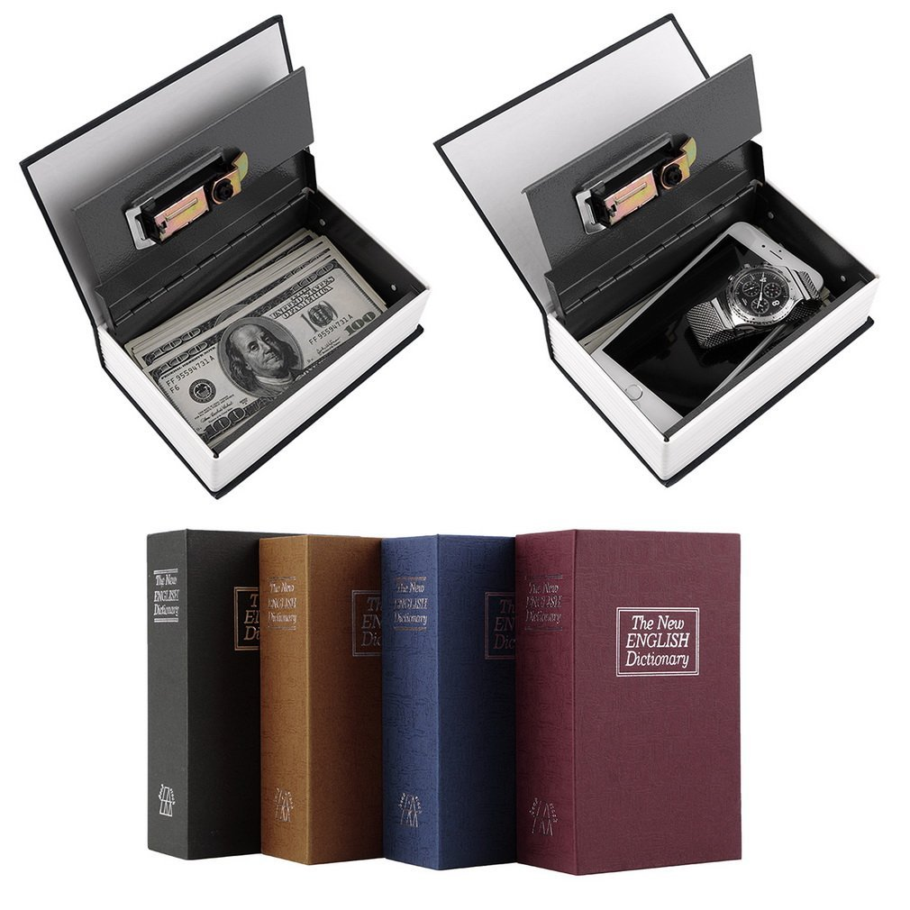 Modern Simulation Dictionary Secret Book Hidden Security Safety Lock Cash Money Jewelry Cabinet Size Book Case Storage Box size m 4 color combination lock hidden box security lock key english dictionary lock strongbox steel simulation 240 155 55mm
