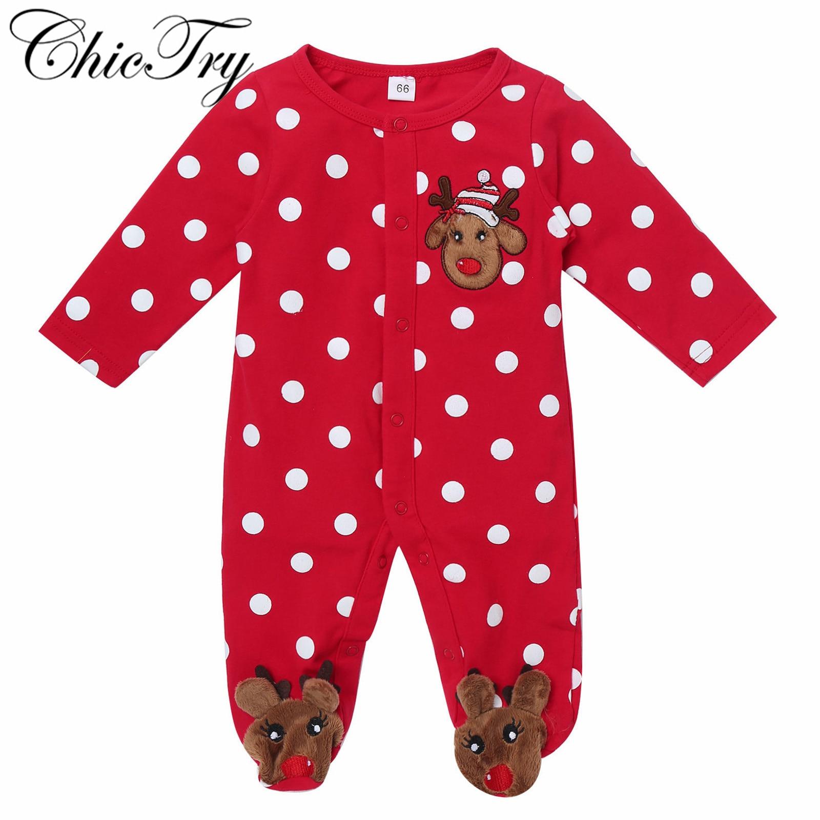 Newborn First Christmas Gift Baby Boy Girl Rompers Newborn Infant Baby Cartoon Deer Red Jumpsuit Pla