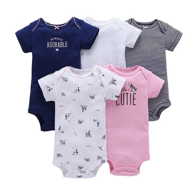 Mono 100% de algodón para bebé niña ropa para bebé Body bebé recién nacido ropa para 5 unids/set bebé niño ropa de dibujos animados de una sola pieza