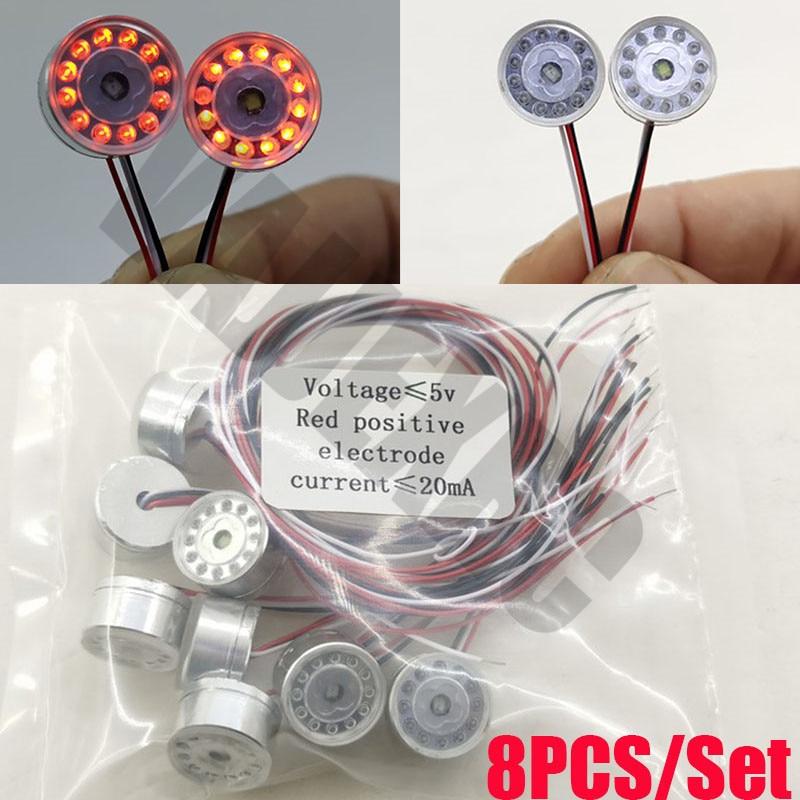 8 pçs conjunto redondo luz led para controle remoto tamiya 1/14 scania r470 r620 mantgx fh16 actros 3363