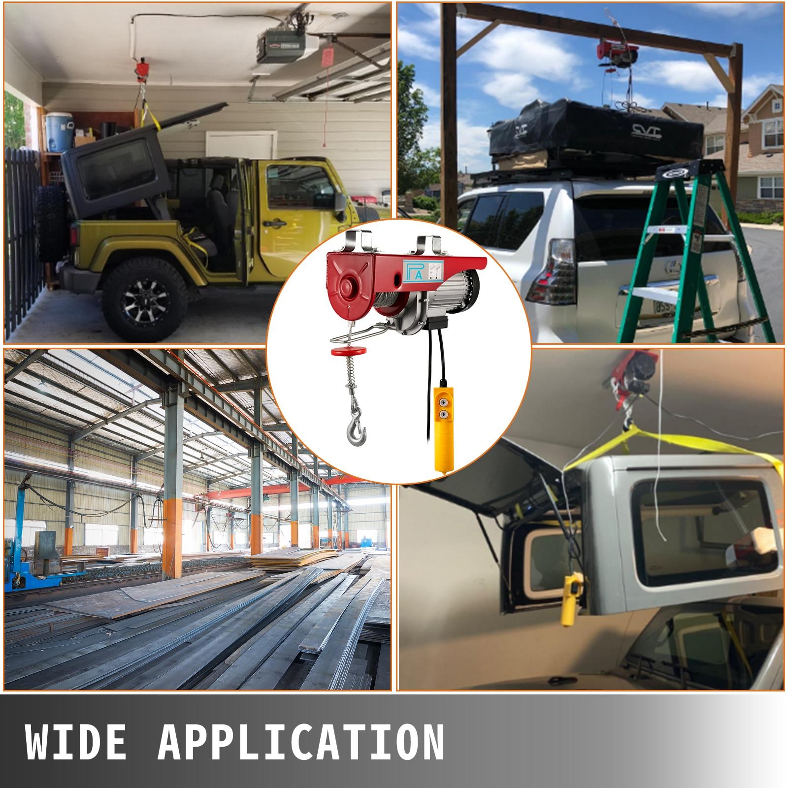 VEVOR 440 880 1320 1760lbs Electric Hoist Crane Portable Lifter Overhead Garage Winch Effort Elevator with Wired Remote Control enlarge