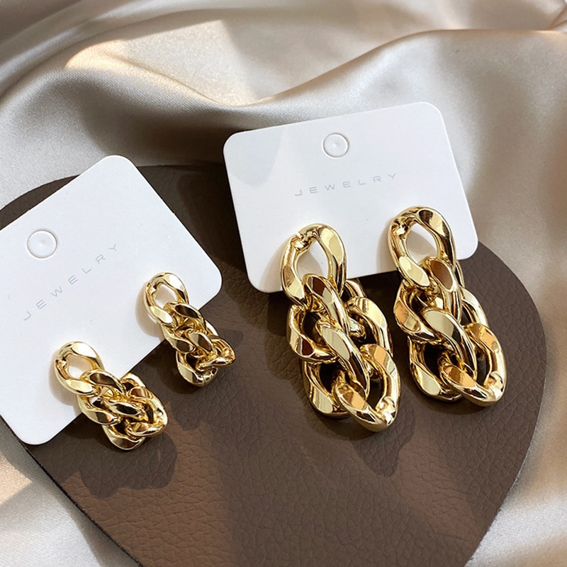 Aensoa Korea Cuba Bright Gold Color Exaggerated Metal Chain Drop Earring Retro Punk Small Big Chain Earrings Vintage Jewelry Drop Earrings Aliexpress
