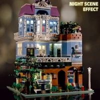 mould king moc streetview the coffee corner with led light model building blocks assembly bricks kids christmas gifts diy toys