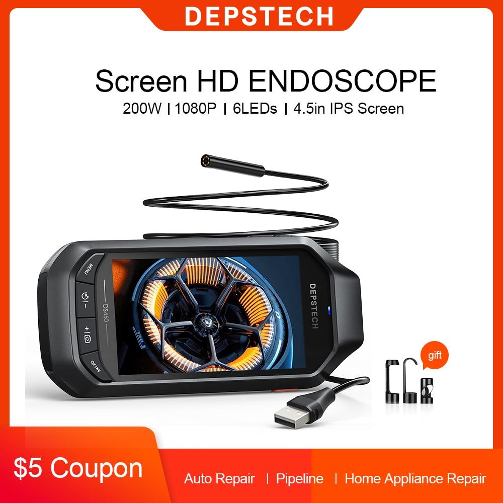 2.0MP Wireless Endoscope Industrial Borescope with 4.5in IPS Screen Waterproof Inspection Camera Semi-Rigid Snake Camera