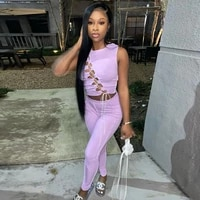 purple elastic hight two piece matching set women sexy lace up hollow sleeveless tank top and skinny legging co ord club outfit