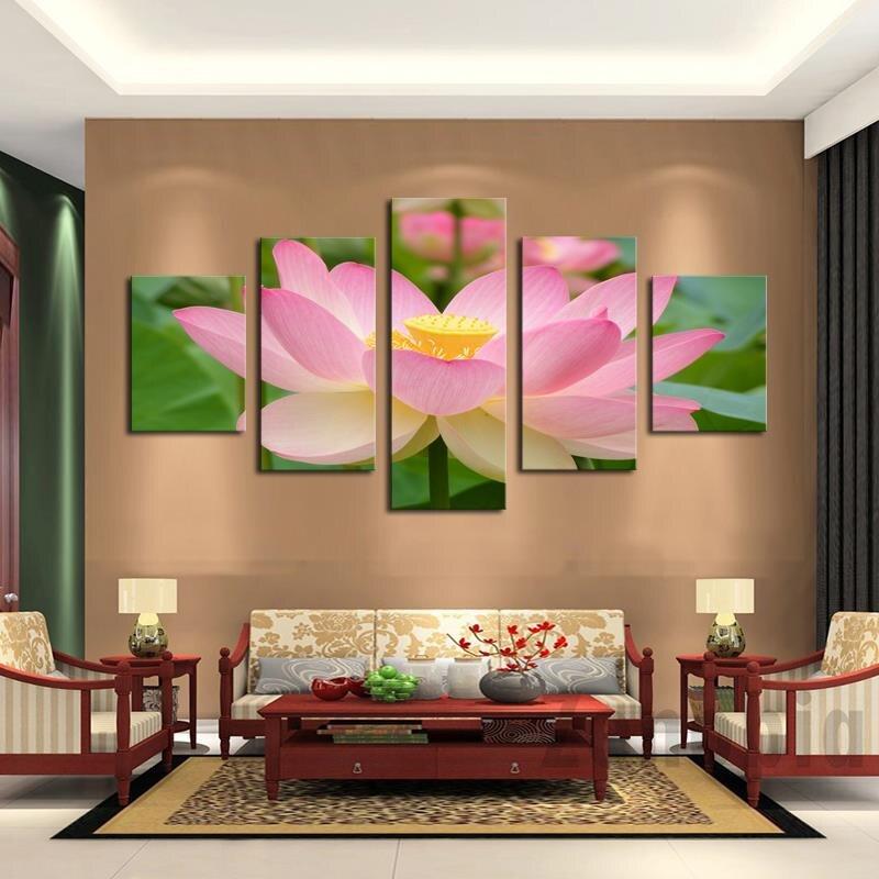2020 pinturas Fallout, 5 paneles de pintura moderna de loto, lienzo, cuadro de Arte de pared, decoración del hogar, estampado para el salón, grande sin marco