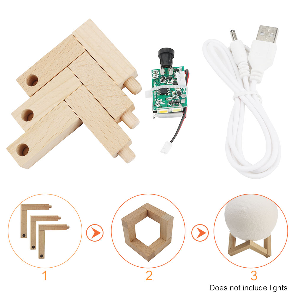 3D Printed Multifunction Home Wood Bracket Moon Lamp Sensitive Light Board Night Gifts USB Charging