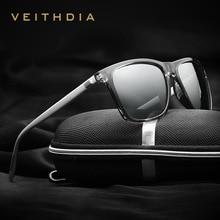VEITHDIA ماركة للجنسين ريترو الألومنيوم TR90 نظارات عدسات قطبية خمر نظارات اكسسوارات نظارات شمسية للرجال/النساء 6108