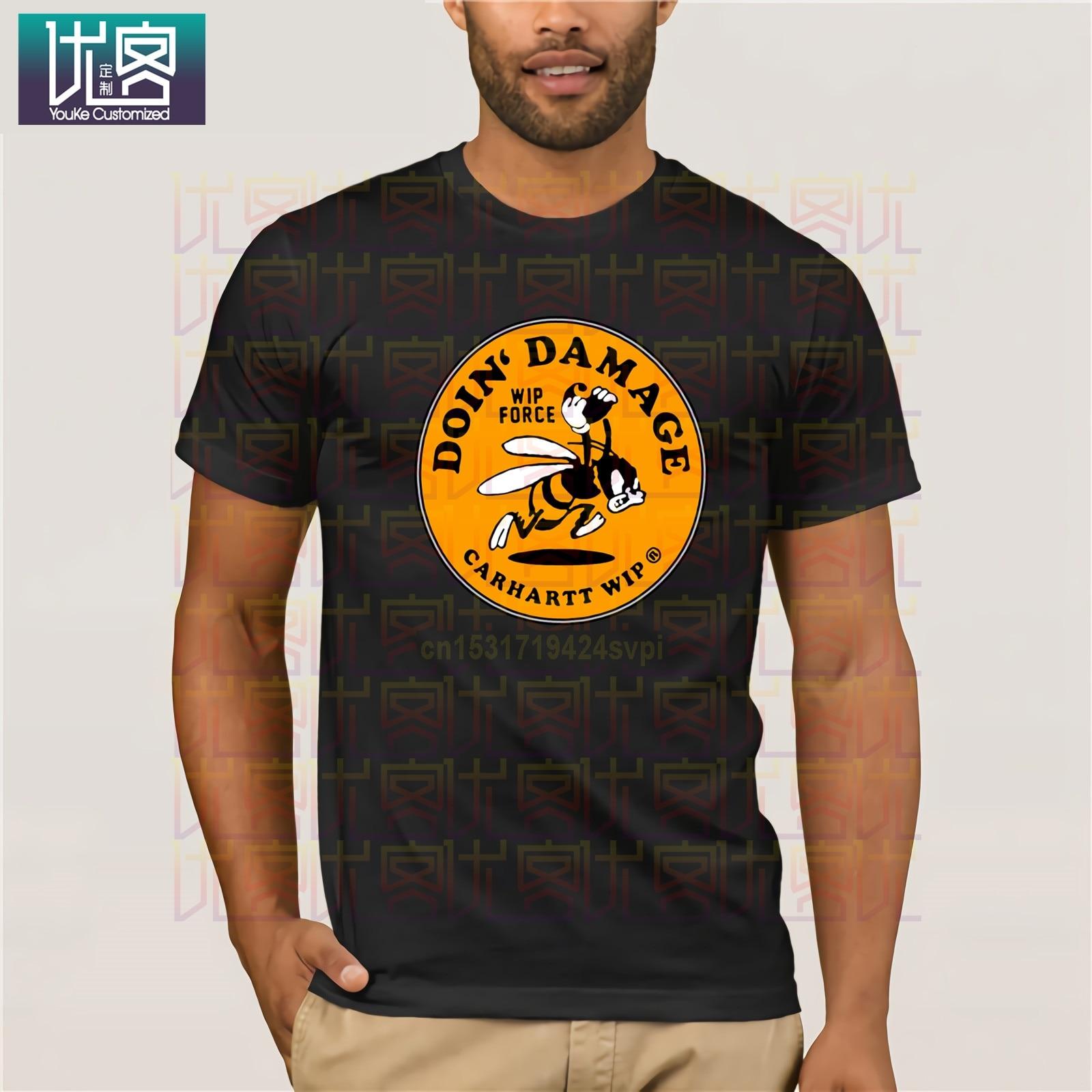 Carhart  Logo T Shirts Men T-Shirt Tops Tees Brand Clothing Fitness Streetwear T Shirts Plus Size