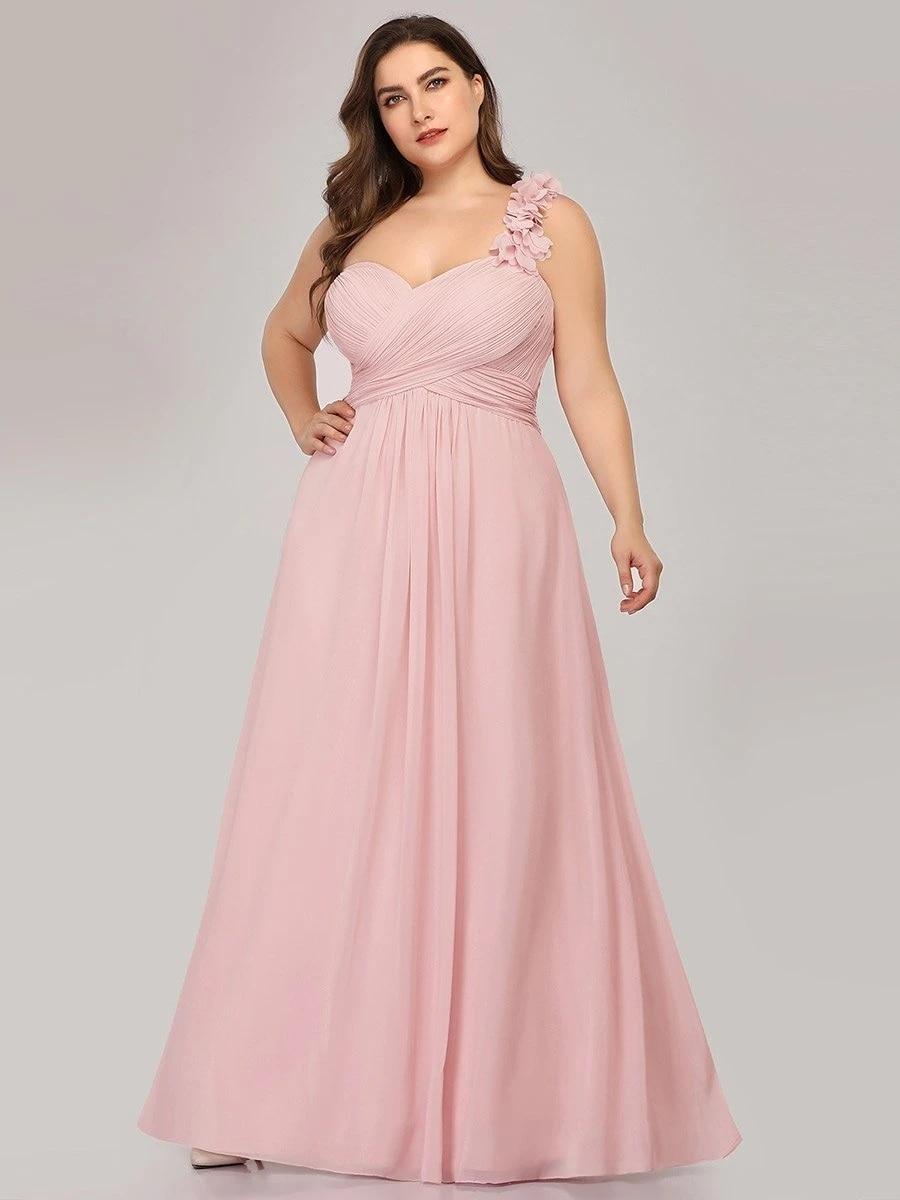 One Shoulder Plus Size Chiffon Bridesmaid Dresses for Wholesale
