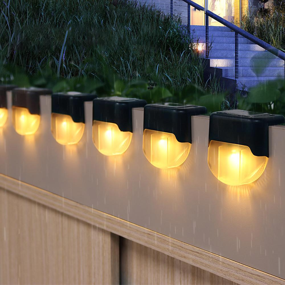 1 2 4pcs waterproof led solar stair light lamps outdoor courtyard pathway street garden stairs lamp night light energy saving 4PCS LED Solar Stair Garden Lamp IP55 Waterproof Outdoor Garden Pathway Yard Stairs Steps Fence Decor Lamps Solar Night Light