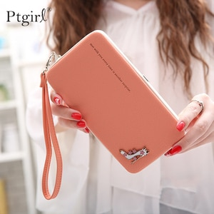 Ptgirl New Arrival Fashion Leather Wallets High-heel Shoes Women Long Wallets Ladies Clutch Phone Bags Portefeuille Femme Bag