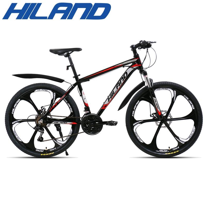 Горный велосипед HILAND, колеса 26 дюймов, стальная рама, 21 скорость, с шифтером SAIGUAN и двойным дисковым тормозом