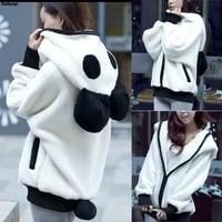 fashion all match womens clothing new wool black and white panda hooded zipper jacket