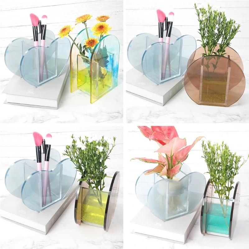 DIY Flower Vase Mold Make-up Brush Pen Holder Resin Casting Mold Art Craft Tools