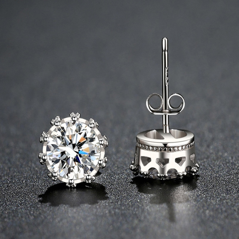 Venda quente moda festa de cristal coroa prata cor do parafuso prisioneiro brincos requintado redondo 8mm cor ouro cz orelha parafuso prisioneiro feminino jóias presente