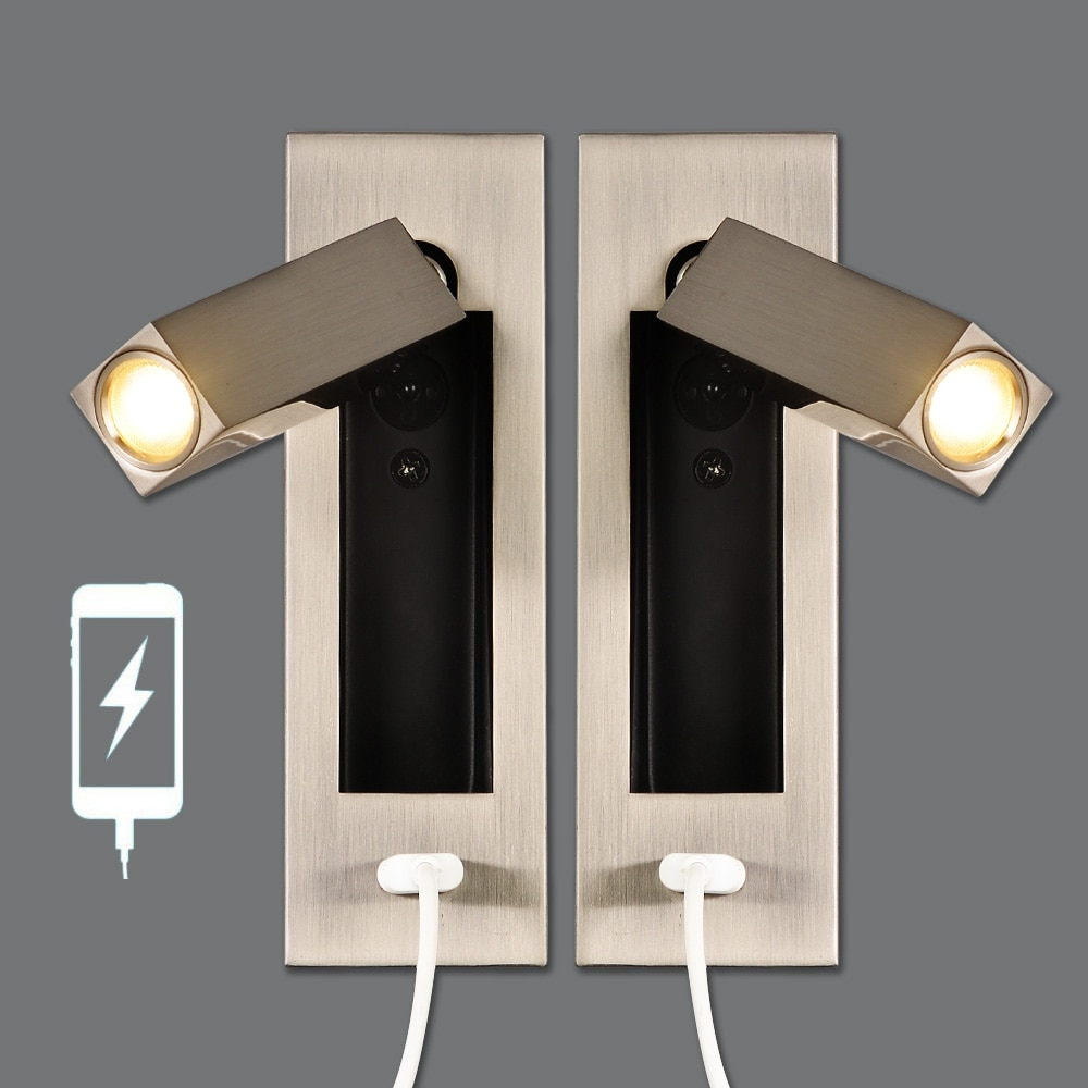 Zerouno شمعدانات جدارية شاحن يو اس بي كري 2 واط الجدار إعادة إرسال تركيبات إضاءة رئيس قابل للتعديل الجدار مصباح الصناعية لوفت ديكور مصابيح