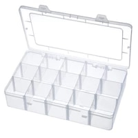 portable 15 grids plastic jewelry beads pills nail tips storage box detachable case container